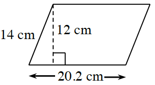 A parallelogram, slanted right, with bottom side, 20.2 cm. Left side is 14 cm. A right triangle is created by a line segment of 12 cm, drawn from the top left vertex, to the bottom side, at a 90 degree angle to the bottom.