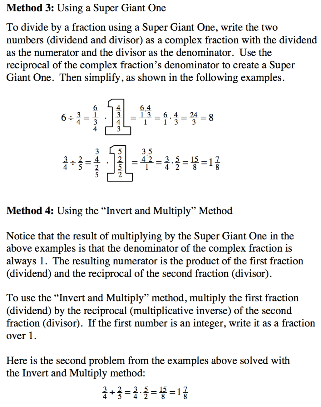Math notes: Method 3 Using a Super Giant One