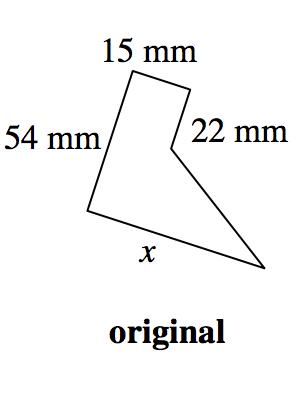 Polígono de cinco lados, rotulado original; los lados, empezando por arriba, rotulados como sigue: 15 milímetros, 22 milímetros, en blanco, x, 54 milímetros.
