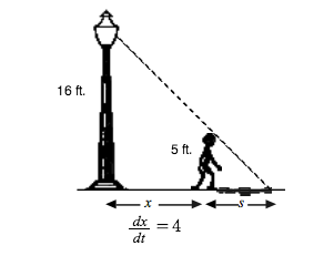 Right triangle, vertical leg is a lamppost, 2 thirds of the way to vertex opposite vertical leg, is person, standing between horizontal leg & hypotenuse, labeled 5 feet, such that horizontal leg is divided into 2 parts, part between person and right angle labeled, x, other part labeled, s, with title d subscript x divided by d subscript t, = 4.