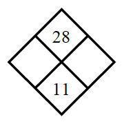 Diamond Problem. Left blank, Right blank, Top 28,  Bottom 11