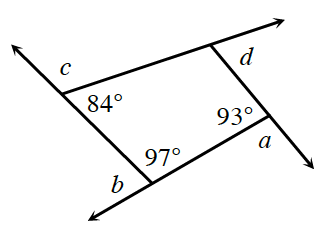 A quadrilateral where all 4 sides are extended toward the left. The first interior angle, 93 degrees has an exterior angle, a. The second interior angle, 97 degrees has an exterior angle, b. The third interior angle, 84 degrees, has an exterior angle, c. The final interior angle is unknown, but the exterior angle is, d.