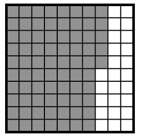 A 100% block with 7 columns, and 5 squares in the sixth column, shaded.