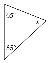 A triangle with angles labeled: 65 degrees, 55 degrees, and x.