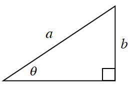A right triangle with a hypotenuse of, a, and height of, b. Angle theta is opposite side, b.