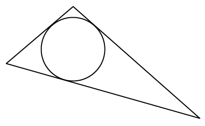 Obtuse triangle, with obtuse angle at the top, with a circle inscribed in the triangle, so that the circle is tangent to the left & right sides of the triangle, close to the top angle, & is tangent to the bottom side of the triangle, almost directly below the top vertex.