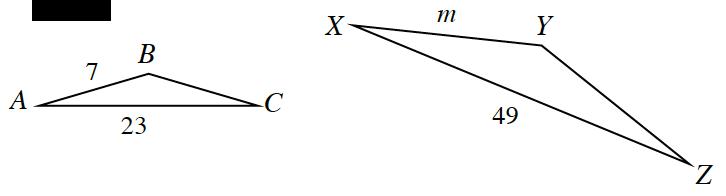 2 Triangles, A,B,C, & X,Y,Z, labeled as follows: side, AB, 7, side, AC, 23, side, XY, m, side, XZ, 49.