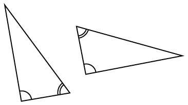 Two triangles, triangle on left, lower left angle has 1 arc, lower right angle has 2 arcs, triangle on right, left top angle has 2 arcs, bottom left angle has 1 arc.