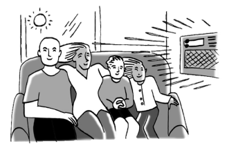family sitting in front of air conditioner