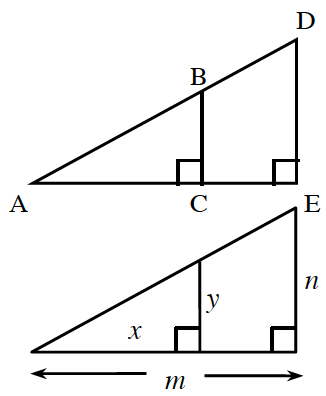 Right triangle, A, C, B, has horizontal leg, A, C, labeled, x, and vertical leg, C, b, labeled, y. The horizontal leg is extended, past the right angle, creating a larger right triangle, A, E, D, with horizontal leg, A, E, labeled, m, and vertical leg, E, d, labeled, n.