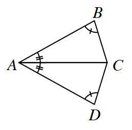 Quadrilateral A, B, C, D.  Angle A is bisected by line A, C.  Angle B is equal to angle D.