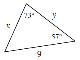 A triangle with sides labeled: left, x, right, y, bottom, 9. Angles labeled: top, 73 degrees, bottom right, 57 degrees.