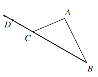Triangle A B C where side B, C extends out from point C to point D on the extending line.