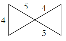 Two triangles with intersecting lines between them are connected at the point of intersection. One of the intersecting lines has a length of 10, 5 on either side of the point of intersection. The other intersecting line has a length of 4 on one side of the intersection. For the triangle that does not have 2 sides labeled, it has a side, 4, which is opposite the angle at the point of intersection.