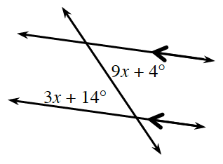 A transversal line cuts two parallel lines. About the point of intersection of the top parallel line and the transversal is the interior right angle, 9, x + 4 degrees. About the point of intersection of the bottom parallel line and the transversal is the interior left angle, 3, x + 14 degrees.