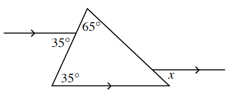 The parallel lines in the middle are extended to go through the triangle.