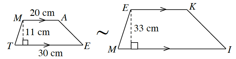 Two similar trapezoids in centimeters. The first trapezoid, M, A, E, T, has bottom base, T, E, of 30, and top base, M, A, of 20. A perpendicular line drawn from M to T, E, has a length of 11. The second trapezoid E, K, I, M, has a bottom base M, L, and a top base, E, K. A perpendicular line drawn from E to M, l, has a length of 33.