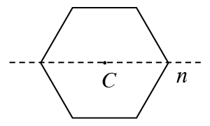 Regular hexagon with center point C and horizontal broken line 'n' at the center.