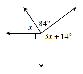 Four angles about a point of intersection. The angles starting at top left going clockwise and are labeled as follows: x, 84 degrees, 3 x + 14 degrees, and 90 degrees.