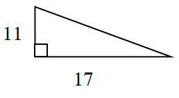 Right triangle, horizontal leg, labeled, 17, vertical leg, labeled, 11.