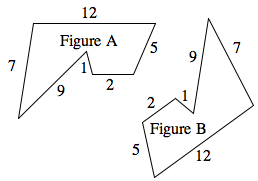 Two Similar 6 sided polygons: Figure A has sides of 12, 5, 2, 1, 9, 7.  Figure B has sides 12, 5, 2, 1, 9, 7