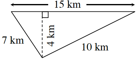 Area and perimeter diagram of a triangle: base is 15 km, left side is 7 km, and right side is 10 km.  Two internal triangles are created by a line segment, of 4 km, drawn from the upper vertex, to the base, at right angles.