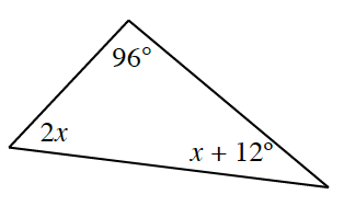 A triangle with angles labeled as follows: 96 degrees, x + 12 degrees, and 2 x.