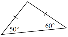 Triangle labeled as follows: bottom left angle, 50 degrees, bottom right angle, 60 degrees, left side and right side, each have one tick mark.