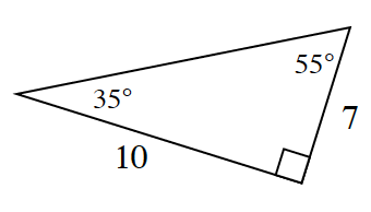 A right triangle with a base of 10 and height of 7. The 35 degrees angle is in between the base and hypotenuse and the 55 degrees angle is in between the hypotenuse and height.