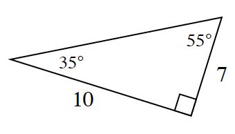 Triángulo rectángulo con una base de 10 y una altura de 7. El ángulo de 35 grados está entre la base y la hipotenusa, y el ángulo de 55 grados está entre la hipotenusa y la altura.