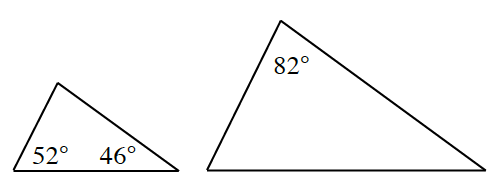 Two triangles. The triangle at left has angles of 52 degrees and 46 degrees. The triangle at right has an angle of 82 degrees.
