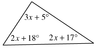 A triangle with interior angles of 3 x + 5 degrees on top, 2 x + 18 degrees at bottom left and 2 x + 17 degrees at bottom right.