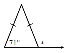 An isosceles triangle where the base line is extended to the right outside of the triangle. The left interior angle is 71 degrees and the exterior angle is labeled x.