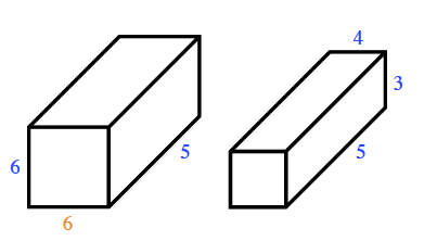 The rectangular prism on the left has a base 6 by 6.