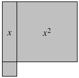 1 vertical x tile, with 1 x squared tile, connected on the right side, and 1 unit tile, connected underneath the x tile.