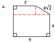 Added to the figure, a horizontal dashed line, coming from the bottom vertex of the slanted side, with a vertical segment, from the horizontal segment, to the top vertex of the slanted side.