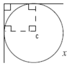 Added to diagram, dashed segments from center of circle to points of tangency, creating square.