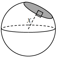 Sphere, with cut off portion, shown as a shaded circle. A dashed line, labeled, x, from center of sphere, perpendicular to shaded circle.