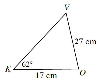 Triangle, K V O, labeled as follows: side, V O, 27 cm, side, K O, 17 cm, angle K, 62 degrees.
