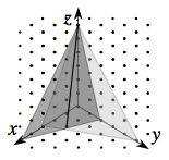 3 dimensional coordinate system, on isometric dot paper, with line connecting the approximate point, (2, comma 1, comma 0),  & the exact point, (0, comma 0, comma 6).