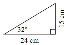Right triangle, has a height of 15 cm, & a base of 24 cm, with an angle of 32 degrees, across from the 15 cm side.
