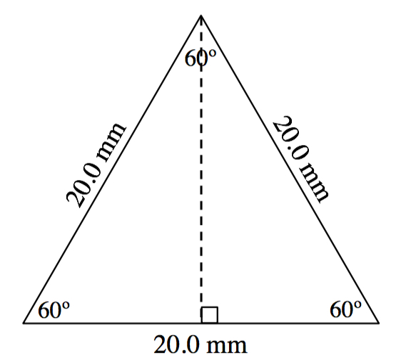 An equilateral triangle with sides length 20.0 millimeters. All three angles are 60 degrees. A dashed line is drawn from the upper vertex to the base forming a right angle.