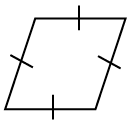 4 sided polygon, labeled Rhombus with all 4 sides labeled with 1 tick mark.
