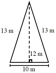 A triangle with a base of 10 meters, left side 13 meters and right side 13 meters.  Two internal triangles are created by a line segment of 12 meters drawn from the upper vertex to the base at right angles .