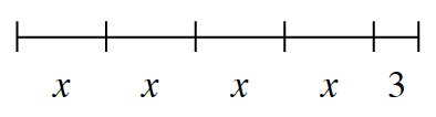 Line segment, with 5 sections. First 4 equal sections labeled, x, and last, different length, section labeled, 3.