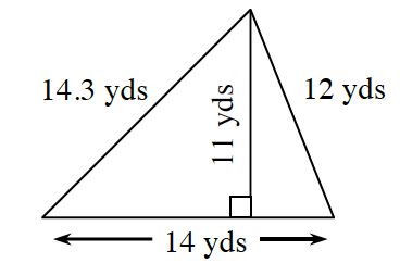 A triangle with side lengths of 14 yards, 12 yards and 14.3 yards, with a line segment, labeled 11 yards, from the top vertex, to the bottom, at right angles.