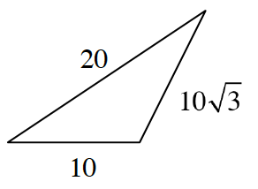 A triangle with side lengths 20, 10, and 10 square root of 3.