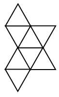 A net of 8 equilateral triangles alternating up & down to share a side, across rows, and between rows, arranged in 4 rows, with 3 possible positions from left to right as follows: Row 1: first, up, Row 2: first, down, second, up, third, down. Row 3: first, up, second, down, third, up. Row 4: first, down.