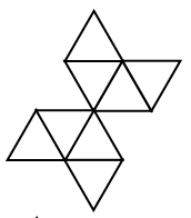A net of 8 equilateral triangles, alternating up & down, to share a side, across rows, and between rows, arranged in 4 rows, with 6 possible positions from left to right as follows: Row 1: third, up, Row 2: third, down, fourth, up, fifth, down. Row 3: first, up, second, down, third, up. Row 4: third, down.