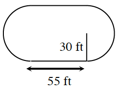 An elongated circle, that is rectangular in the center with semi circles on each end. On the rectangle portion, the base is labeled 55 feet, half the height is labeled 30 feet.